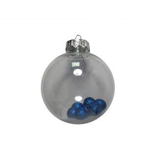 Шар новогодний D8см 1шт N, блест.шарики внутри ОРР