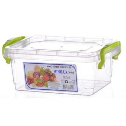 Контейнер пищевой, пластиковый, квадратный 0,3L 13,6*8,6*5,5 ML-102 ML-102