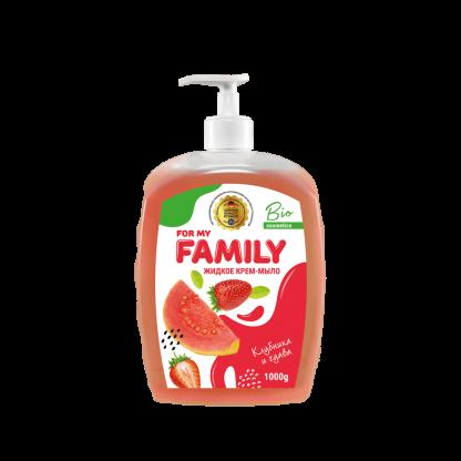 Жидкое крем-мыло Family 1000 мл Клубника и гуава с увлажняющим рисовым маслом