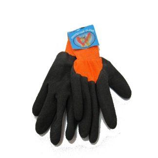 Перчатки рабочие прорезиненные, черные с оранжевым
