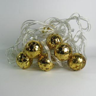 Гирлянда новогодняя 10ламп 3м металлические шарики резные D3см