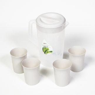 Кувшин пластиковый, 2л. матовый c 4 стаканами
