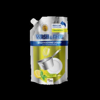 Жидкость для мытья посуды Wash&Free 500мл Лимон и мята