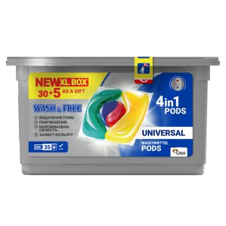 Капсулы-гель для стирки Wash&Free 35шт universal