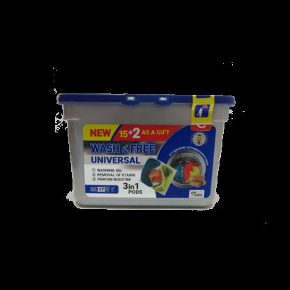Капсулы-гель для стирки Wash & Free 17шт universal со стружкой хозяйственного мыла